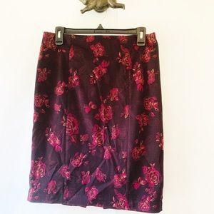 WHBM Black Maroon Floral Pencil Skirt 6